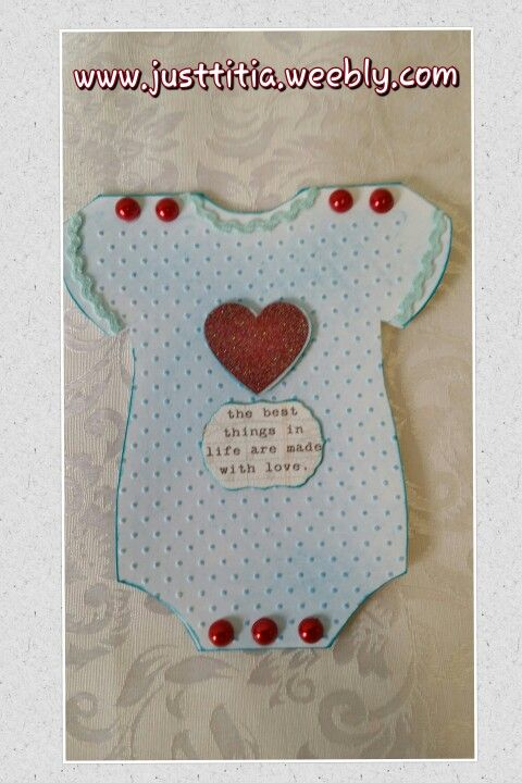 Baby Onesie Card:-) Embossed with Cuttlebug's Swiss Dot folder. Coloured with chalk & hairspray~