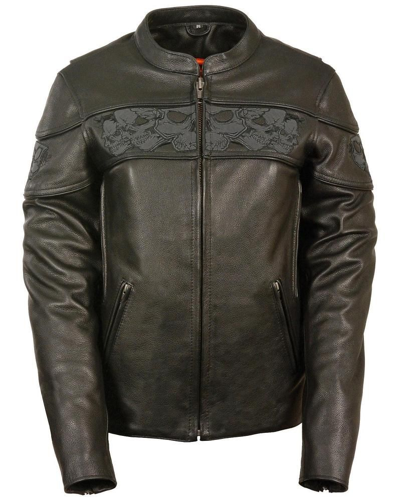 01f084d8c Milwaukee Leather Women's Reflective Skull Crossover Scooter Jacket ...