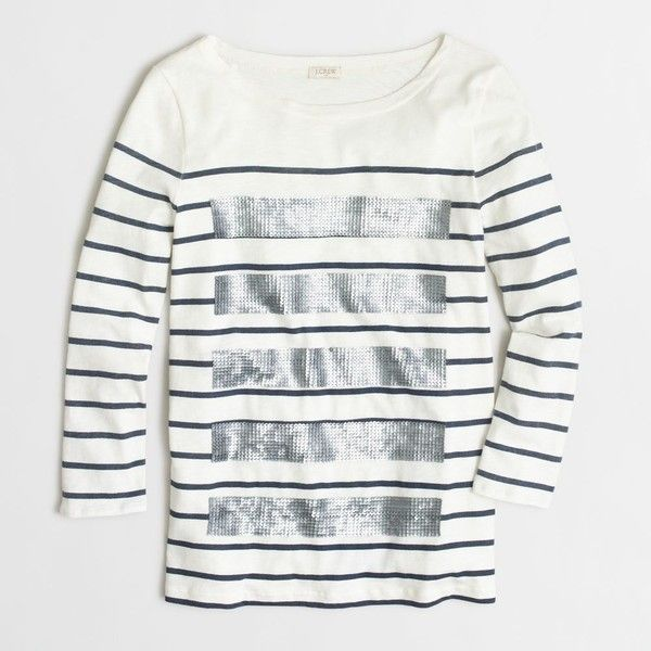 f2fb97eb8 J.Crew Factory sequin-striped tee ($45) ❤ liked on Polyvore featuring tops,  t-shirts, shirts, tops/outerwear, sequin tee, white sequin shirt, j crew t  ...