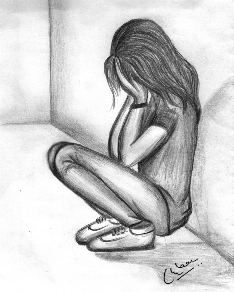 Pencil sketch of a sad girl