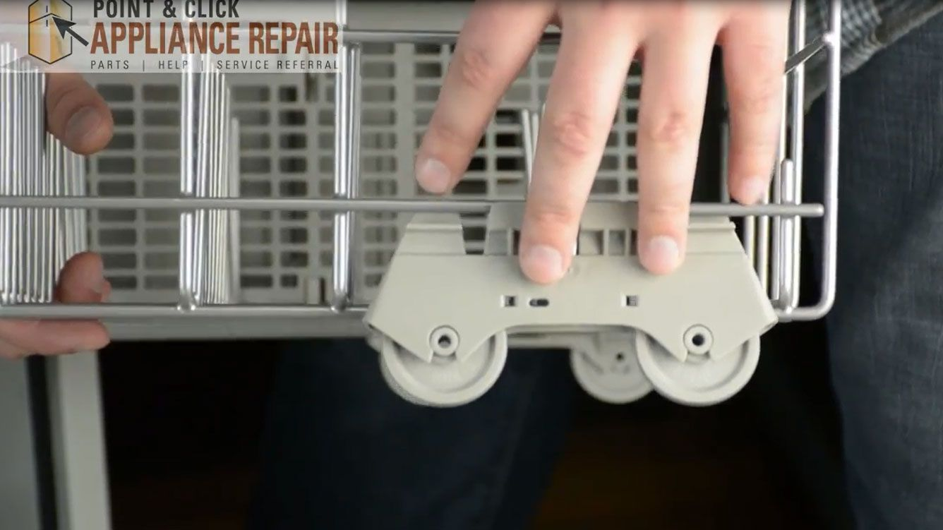 Replacing The Dishwasher S Rack Roller Wheels Dishwasher Repair Dishwasher Racks Whirlpool Dishwasher
