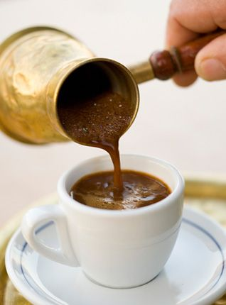 389f849e9bd VISIT GREECE| Greek #coffee is a strong brew, served with foam on top and  the grounds in the bottom of the cup. Although it can be made in a  different pot, ...