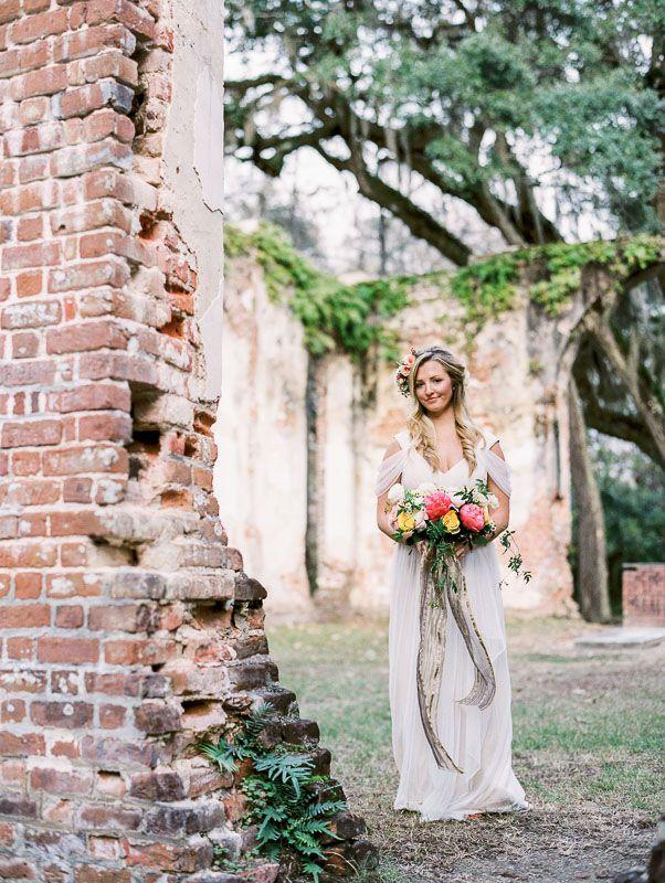 Old Sheldon Church Ruins Wedding Styled Shoot