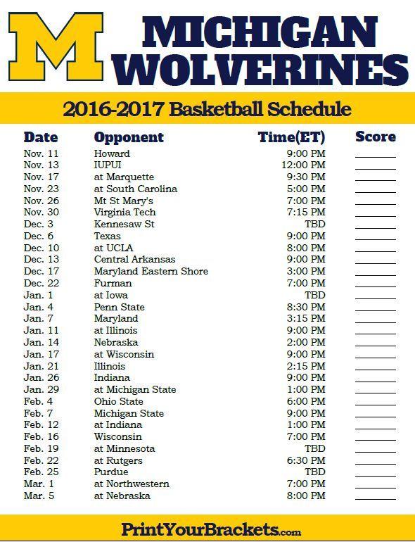 Michigan Wolverines 2016 2017 College Basketball Schedule
