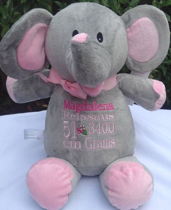 Personalized baby gift elephant birth announcement personalized by personalized baby gift elephant birth announcement personalized by world class embroidery negle Image collections