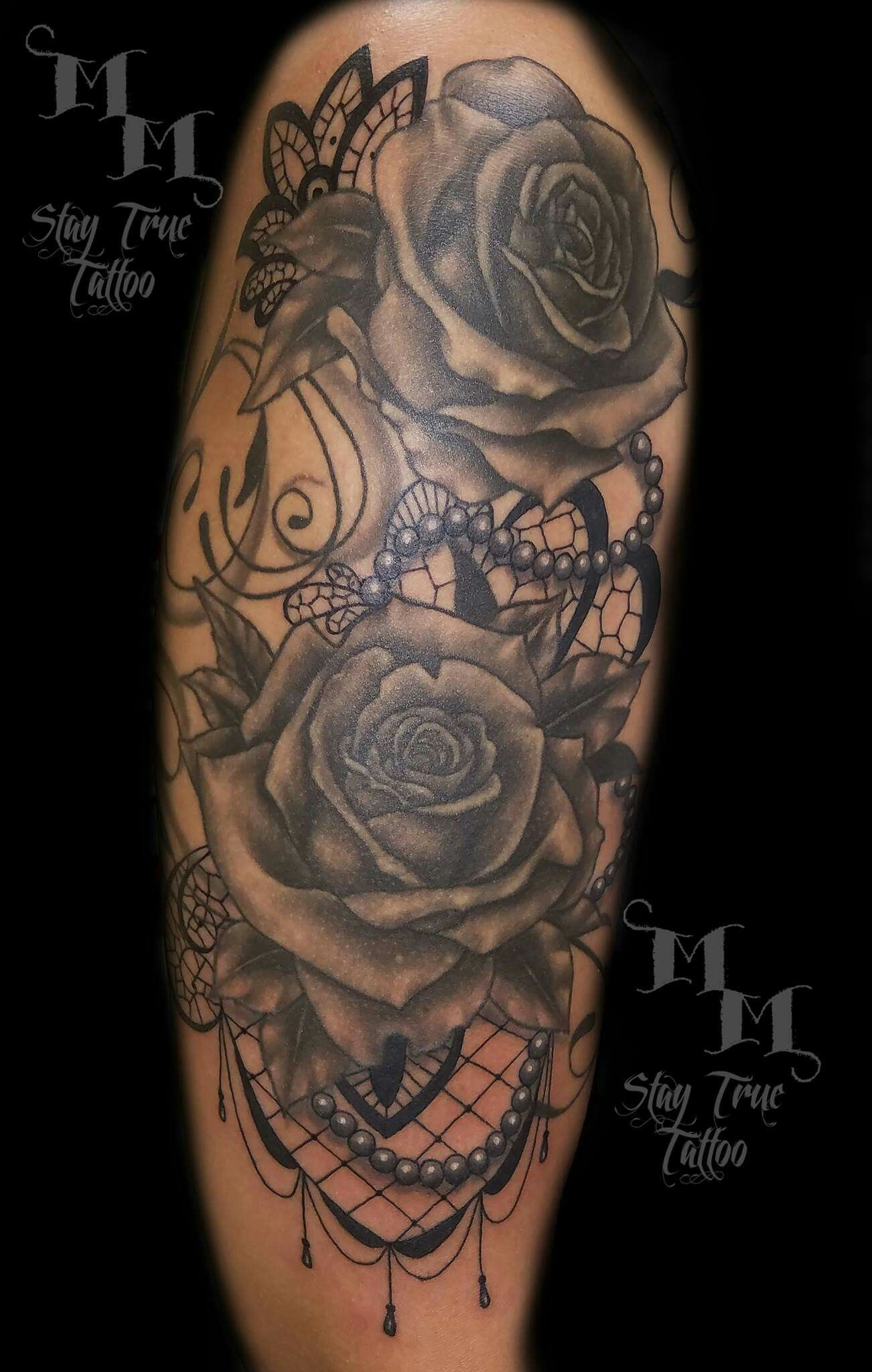 Pearls lace and roses tattoo tattoo ideas pinterest for Lace half sleeve tattoo