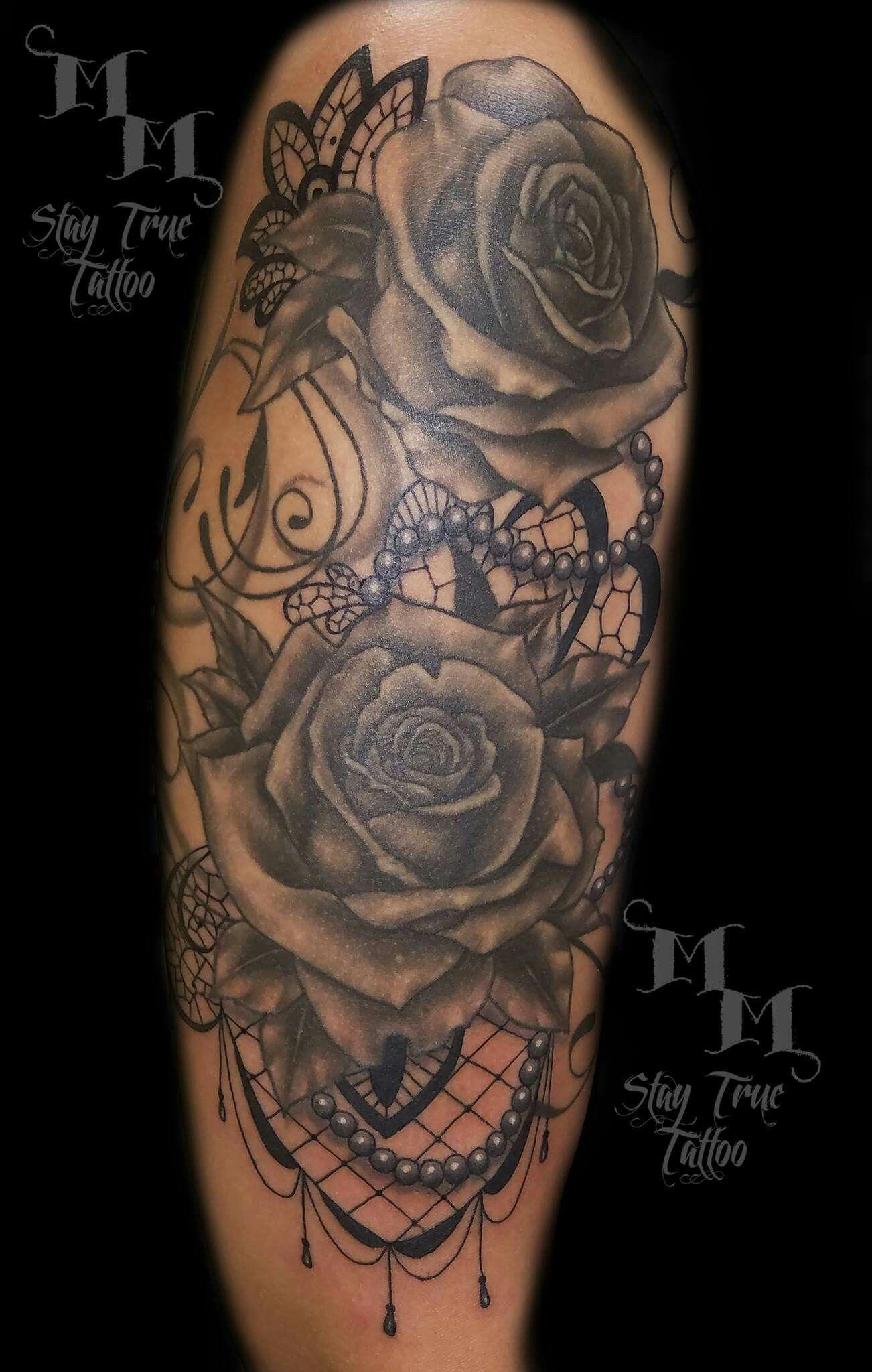 8082d4f18 Roses,w/ pearls & lace tattoo | Tattoo ideas | Lace tattoo, Shoulder ...