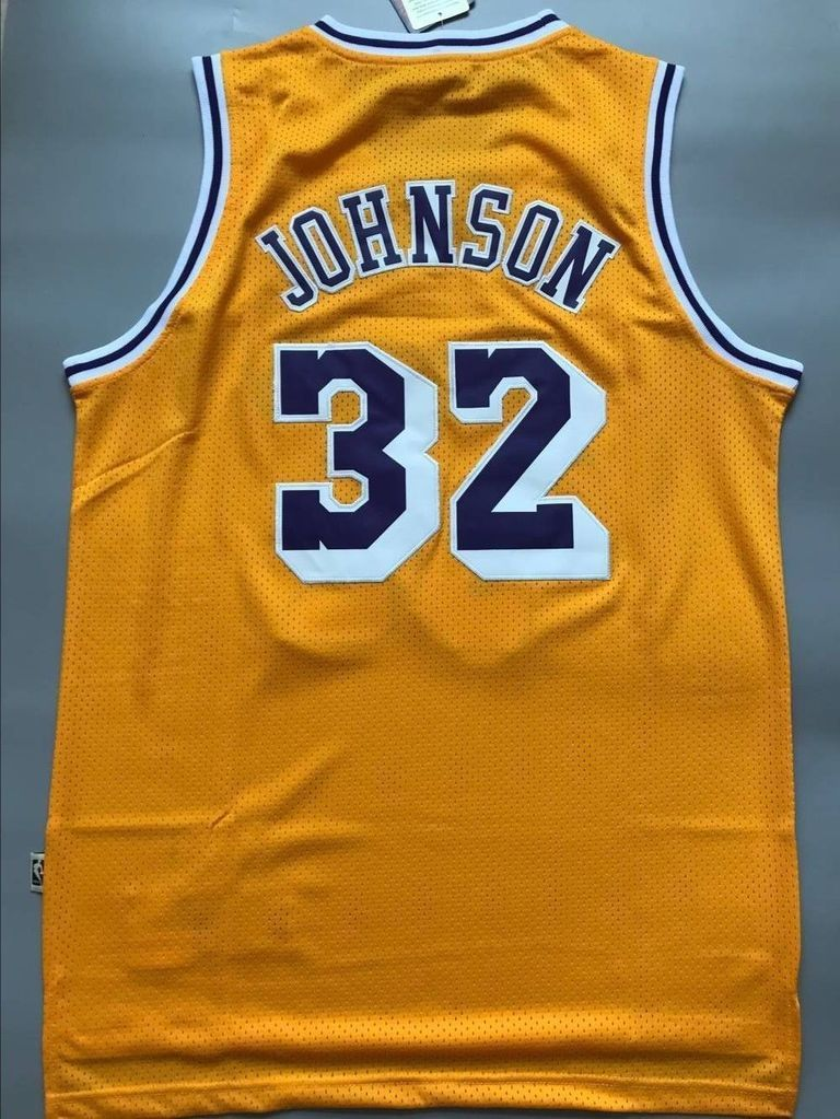 S XXL Los Angeles Lakers #32 Earvin Johnson Yellow Basketball Jersey Size