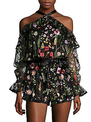 Alexis Brenna Embroidered Cold Shoulder Romper Sukni