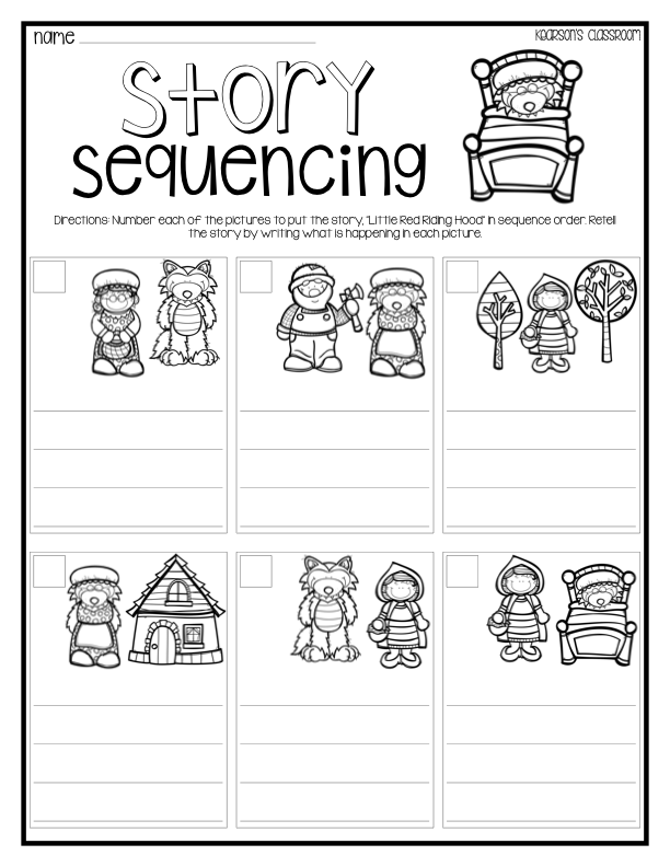 Little Red Riding Hood story sequencing activity – Kindergarten Story Sequencing Worksheets