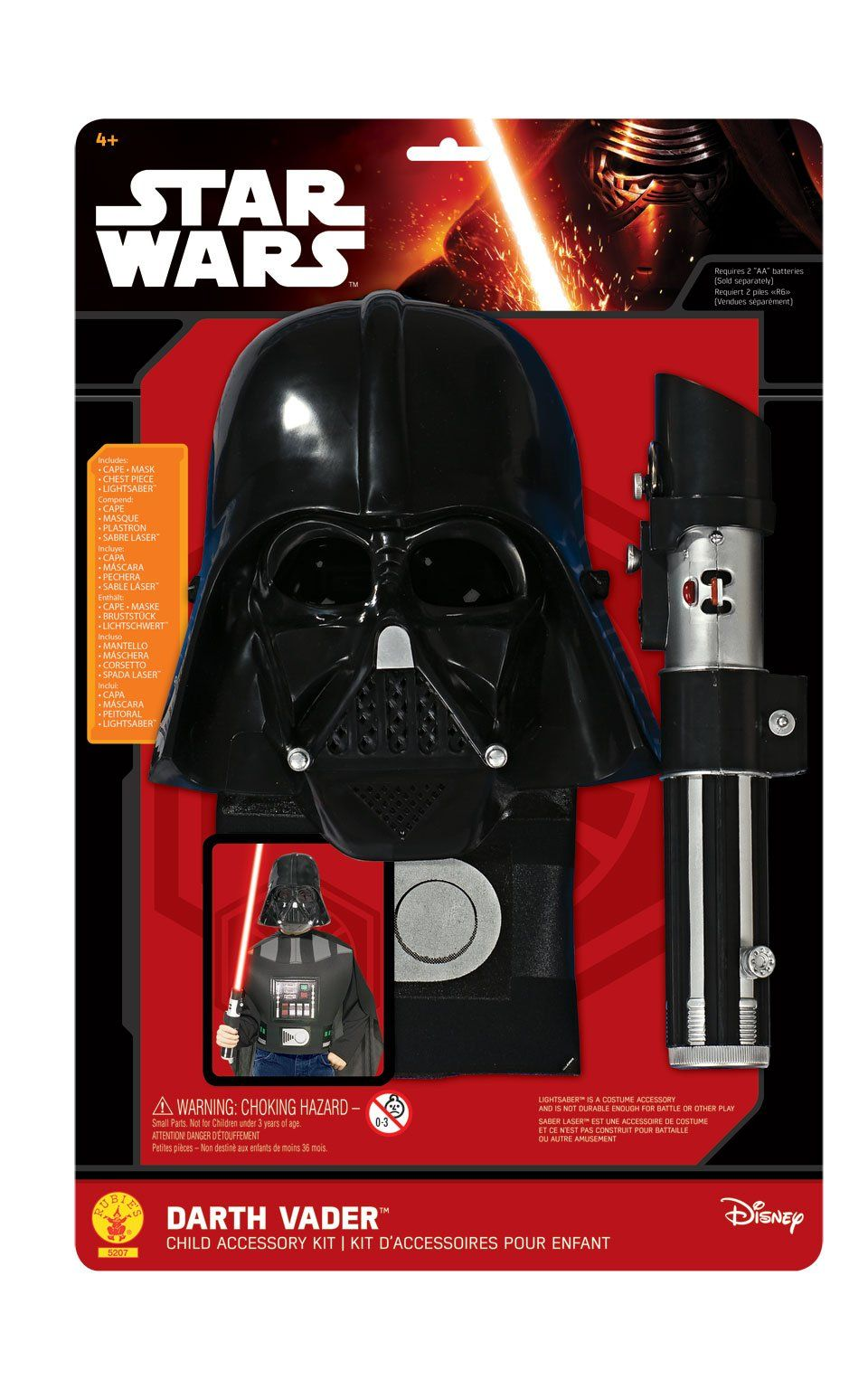 Rubies Official Disney Star Wars Darth Vader Mask and Cape Child One Size