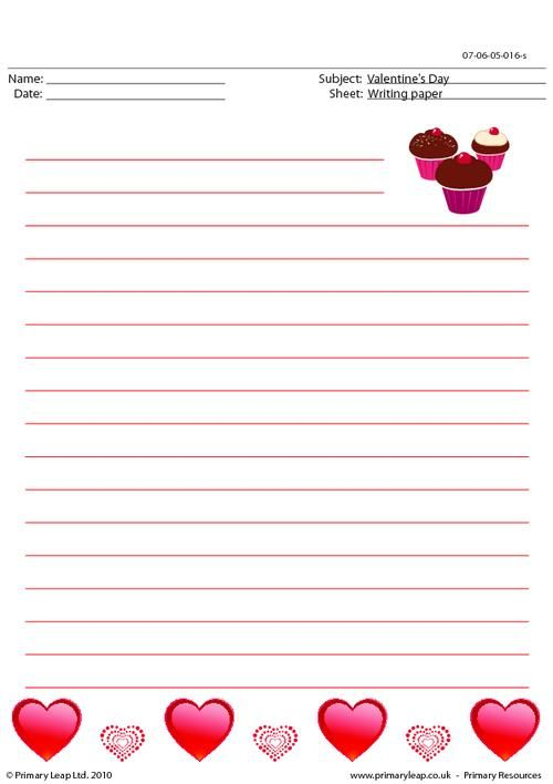 PrimaryleapCoUk  ValentineS Day  Writing Paper  Worksheet