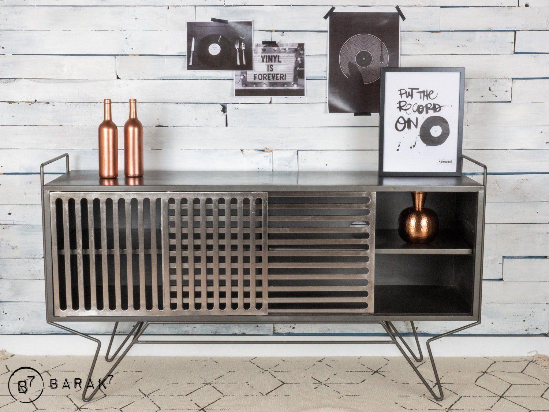 Meuble Tv Metal Sixties Design Decoration Style Industriel Retro Roulette Pour Meuble Rangement Mural Cuisine