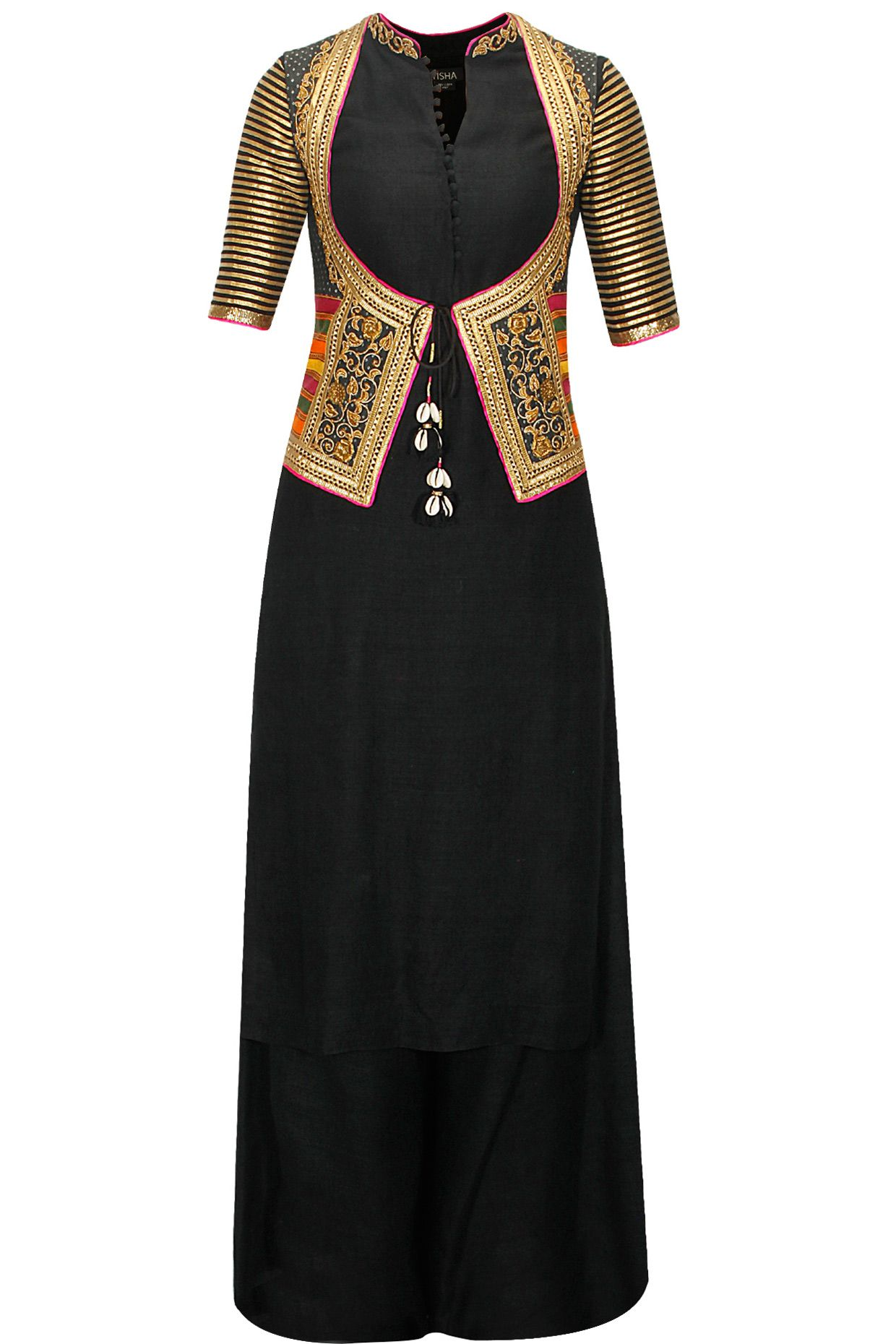 Black cotton kurta set with embroiderd jacket koti available only at