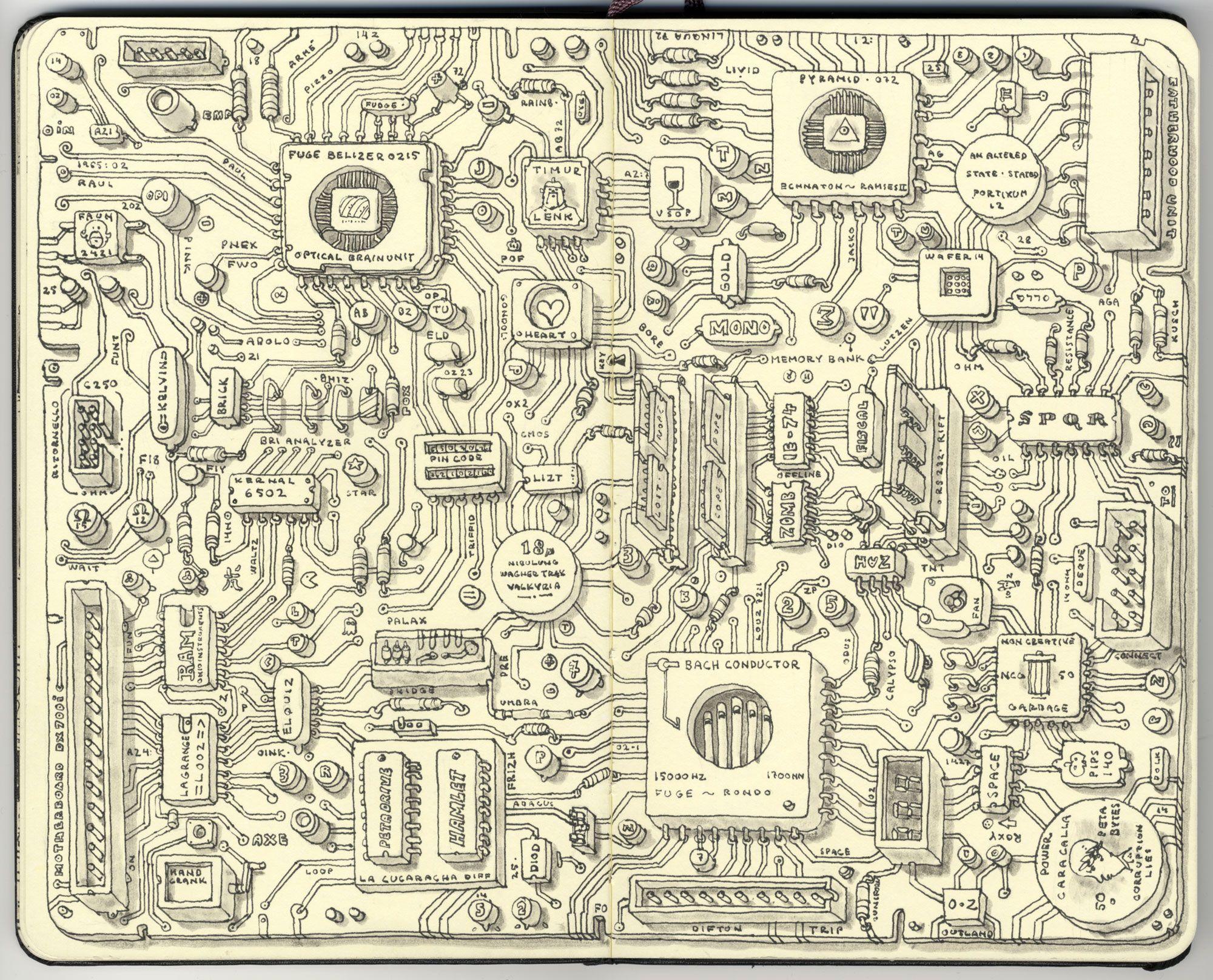 Analog Motherboard By Mattiasa On Deviantart Sketch Book Sketchbook Drawings Best Sketchbook