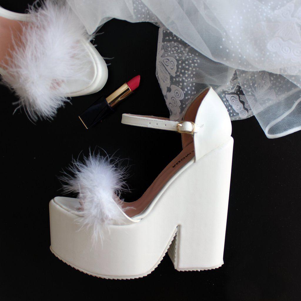 7e2e2b6606 Bridal White Fury High Heel Wedding Wedges in 2019 | Wedding Shoes ...