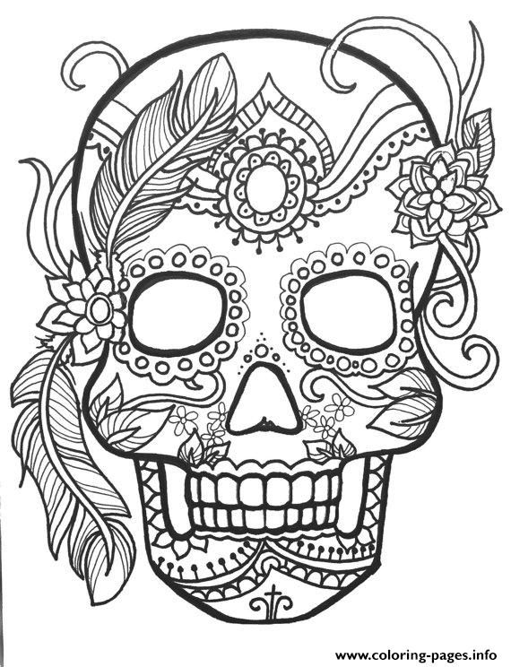 Print sugar skull adult flower coloring pages Art Pinterest