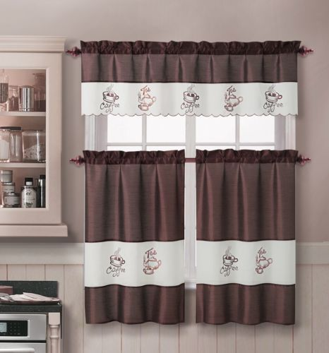 Chocolate 3 Pc Kitchen Window Curtain Set : 1 Valence and 2 Tiers, Coffee Cup