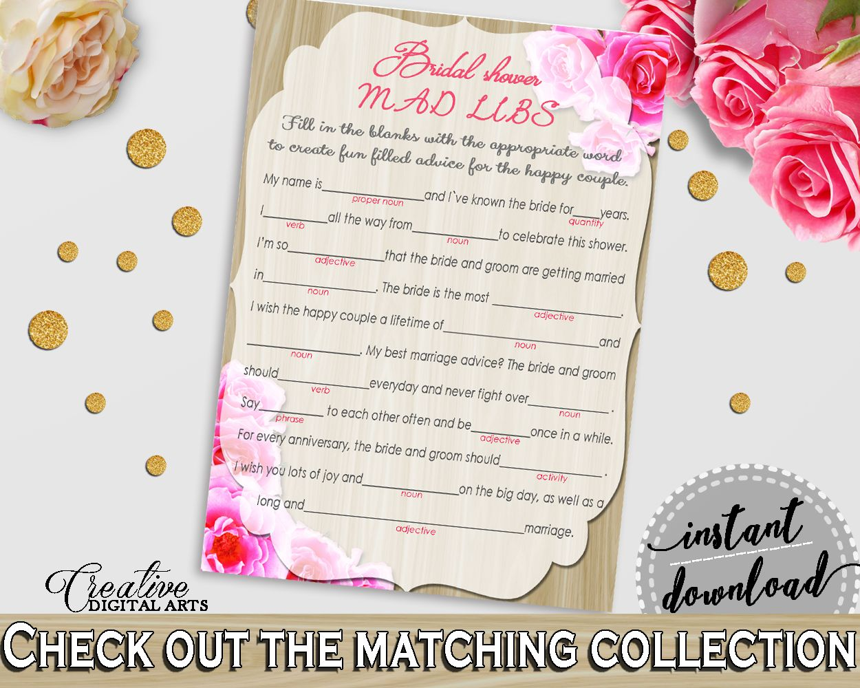 Roses On Wood Bridal Shower Mad Libs Game In Pink And