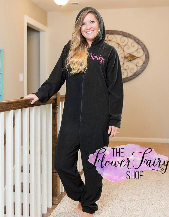 Adult Fleece Hoodie Onesie, Monogrammed Fleece Onesie, Personalized Lounger, Christmas Onesie, Ladies Lounger, Women's Pajamas, Fleece PJ's