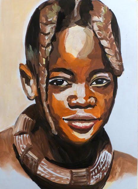 portrait carnet de voyage namibie visage himba peinture. Black Bedroom Furniture Sets. Home Design Ideas