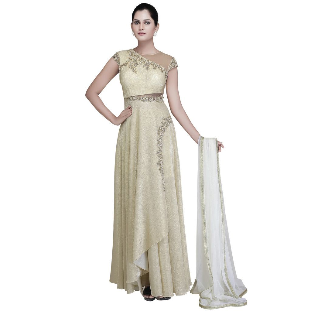 Ivory gold flowy dress with amazing cuts fav pinterest dress