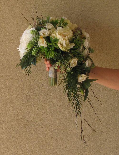 Asymmetrical Crescent Cascade Bridal Bouquet Made Up Of Silk