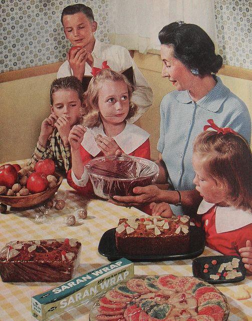 1950s saran wrap vintage kitchen advertisement family