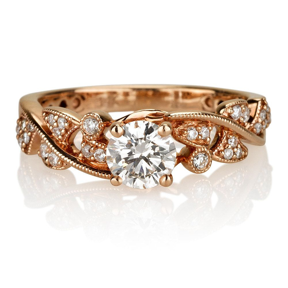 style vintage diamond engagement ring rose diamonds bands women s unique band karat gold wedding media and