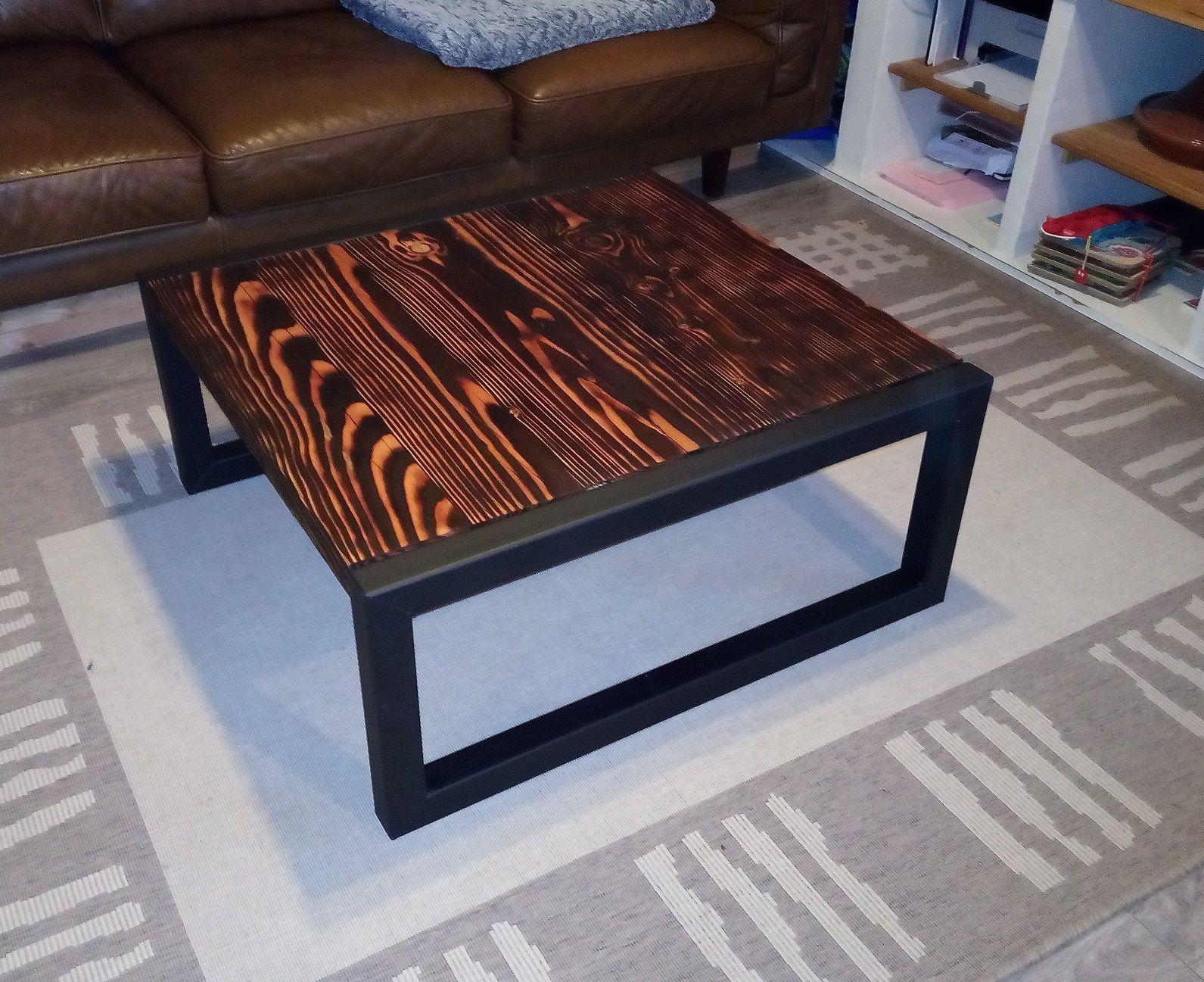 table basse en bois br l technique shou sugi ban meuble industriel a faire en 2019 welded. Black Bedroom Furniture Sets. Home Design Ideas