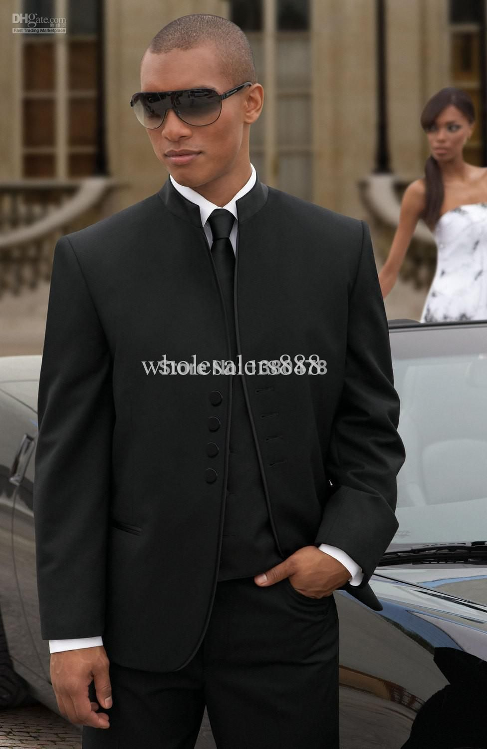 Click to buy ucuc new arrival groom tuxedos black four butons