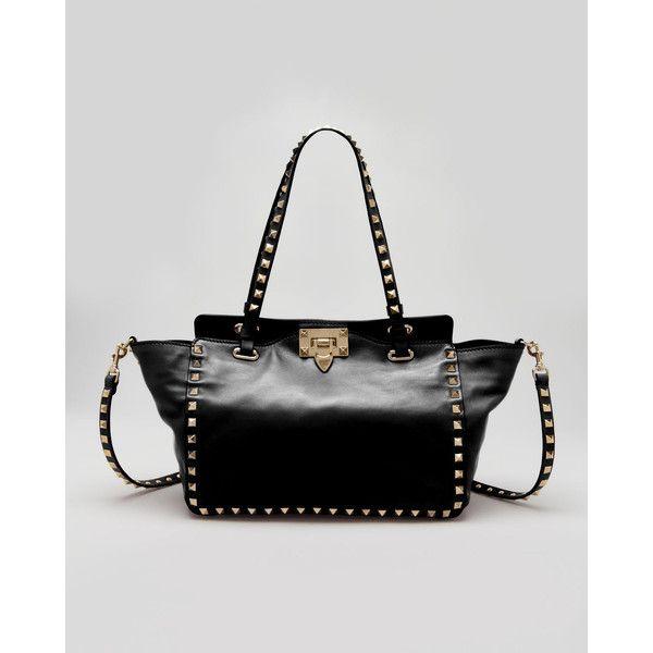 Valentino Rockstud Mini Tote Bag, Black ($1,895) ❤ liked on Polyvore