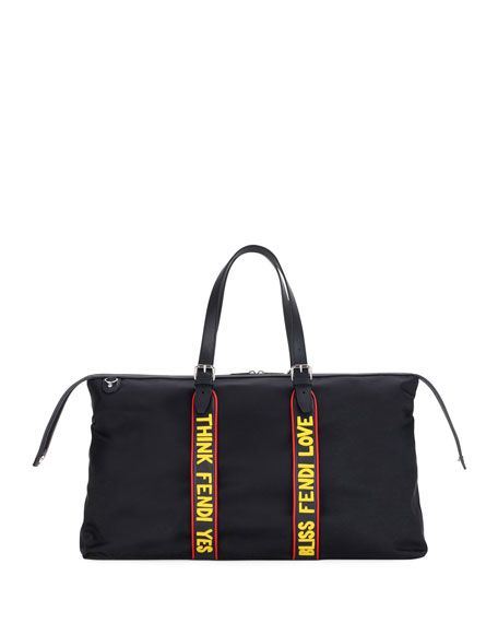 FENDI Vocabulary Nylon   Leather Travel Duffle Bag, Black.  fendi  bags   shoulder bags  hand bags  nylon  leather   372144ba64