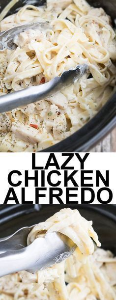 SLOW COOKER CHICKEN ALFREDO RECIPE- Quick, easy, requires 5 ingredients and 5 minutes of prep time. This crockpot chicken alfredo is rich and creamy and an easy weeknight meal. From cakewhiz.com #slowcooker #crockpot #chicken #alfredo #italian #italianfood #dinner #dinnerrecipes #chickenalfredo