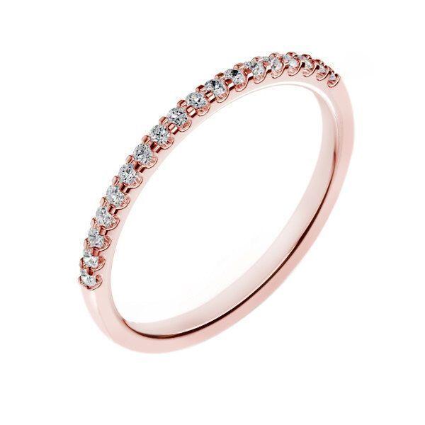 14k Rose Gold Diamond Wedding Band For Women 0 18 Carats G Si2 Shared Set