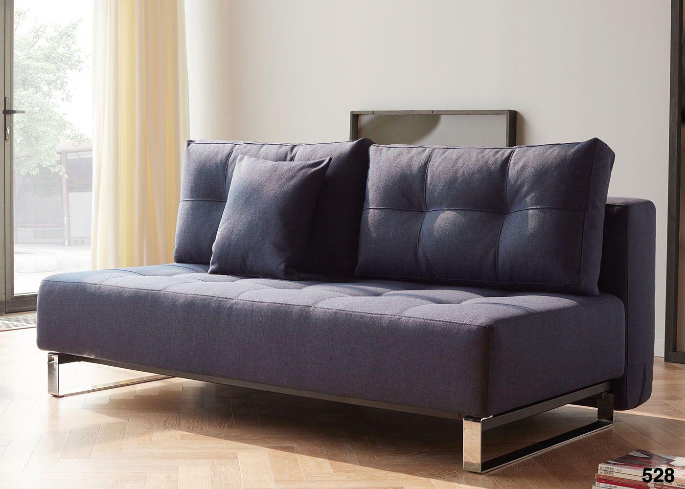 Canape Lit Epais Et Confortable Bleu Ou Gris Avec Pieds En Metal Chrome Supremax Par Innovation Living Canape Sans Accoudoir Canape Design Canape