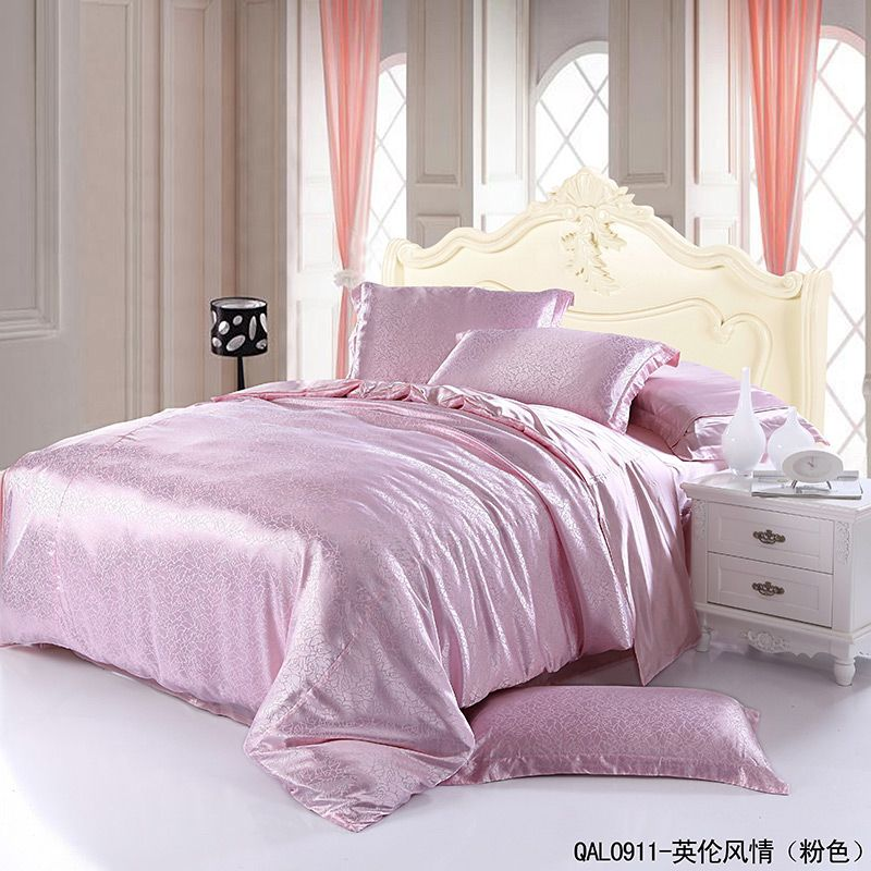English Style Pink Duvet Cover Set Silk Bedding Luxury Bedding