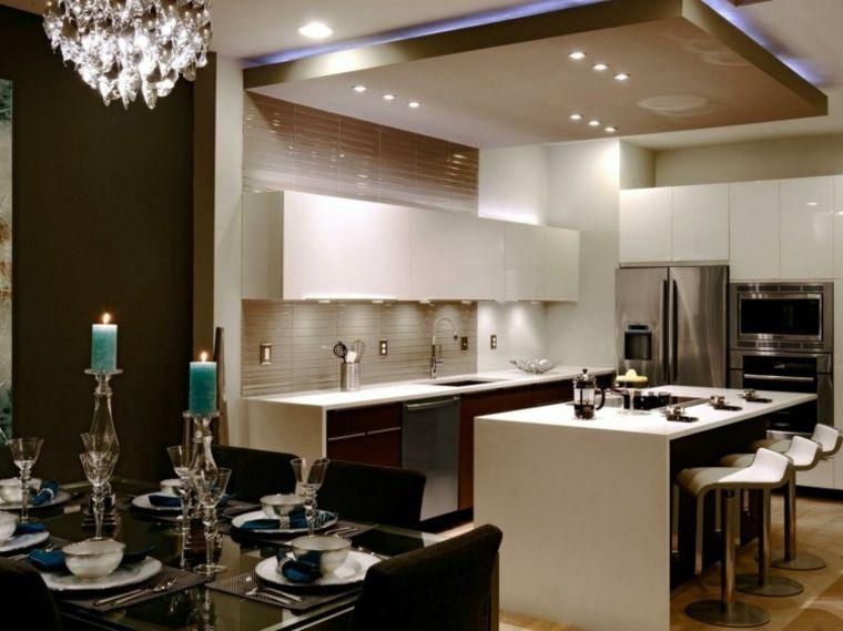 Cocina de dise o moderno con luces led decoracion - Cocina diseno moderno ...