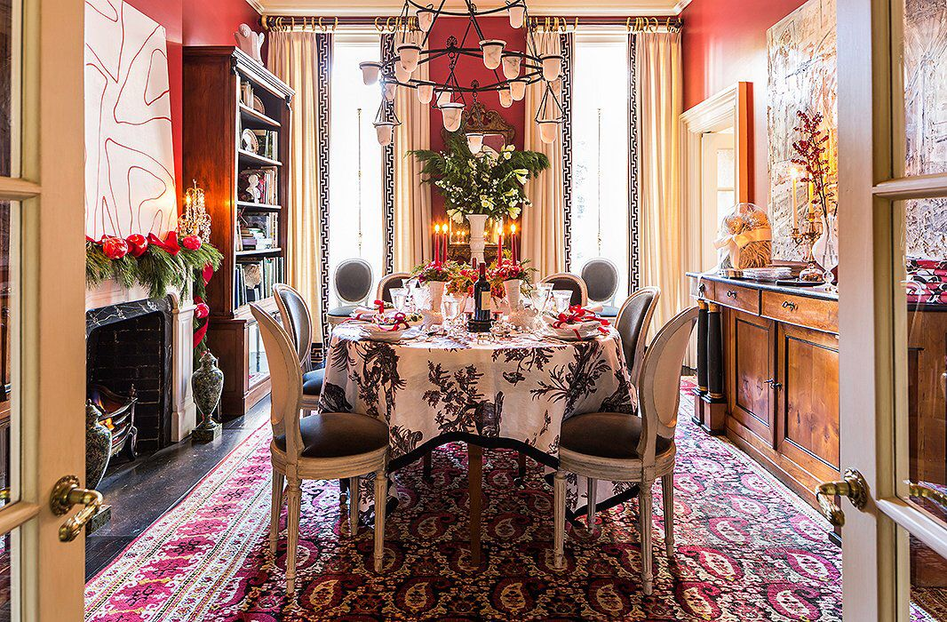 Dining room decorated for the holidays. Red paint