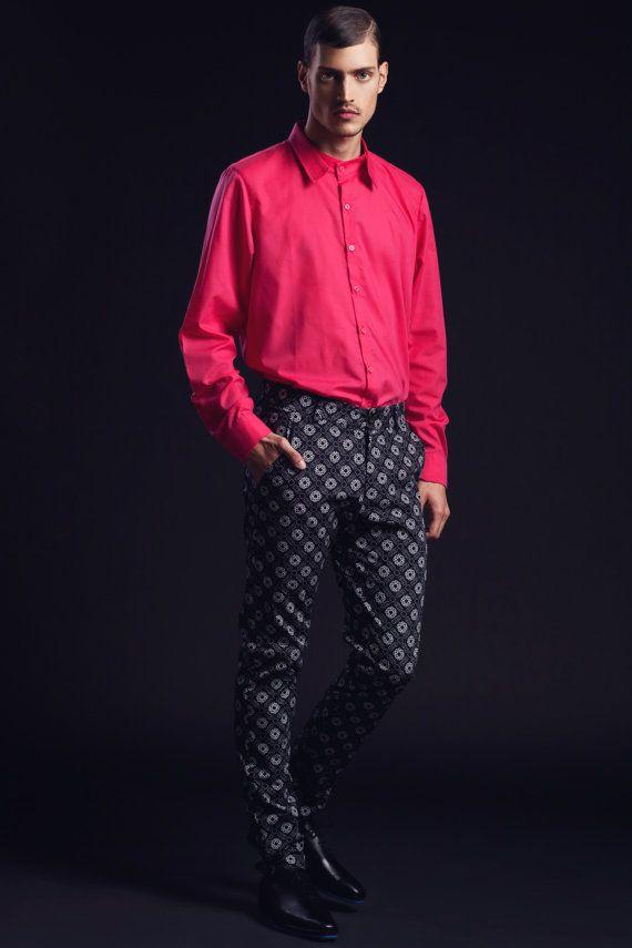 SALE Mens Shirt Mens Pink Button Down Button Up Long Sleeve Shirt ...