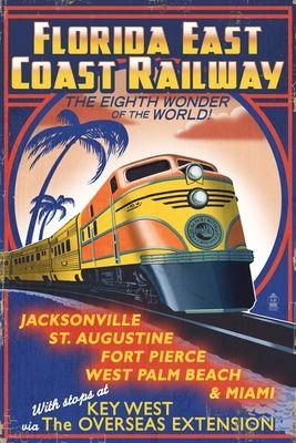 USA - Florida - East Coast Railway vintage travel poster Jacksonville, St. Augustine, Fort Pierce, West Palm Beach, Miami
