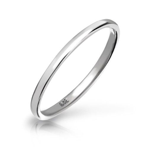 Valentines Day Gifts Bling Jewelry Versatile Sterling Silver Ring 2mm Thin Wedding Band Thumb