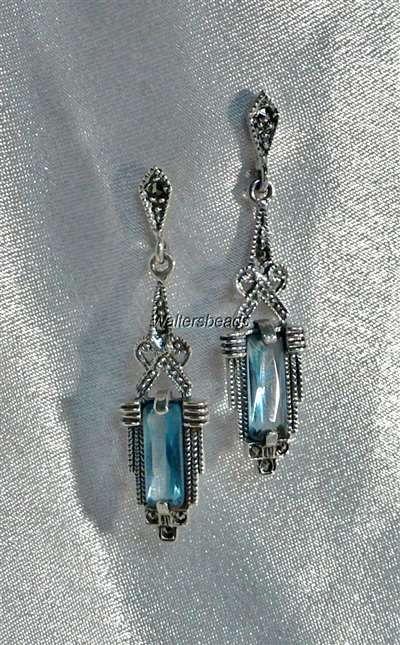 VINTAGE STYLE DANGLE PEARL DROP EARRINGS  Art Deco Nouveau 2 blue