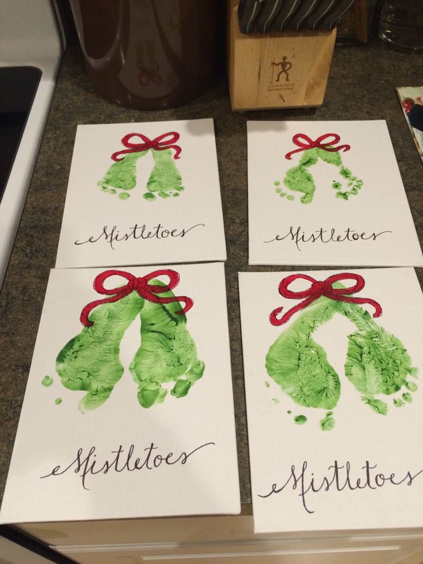 Christmas Gifts For Parents From Infants.Mistletoe Craft From My Infants To Their Parents For