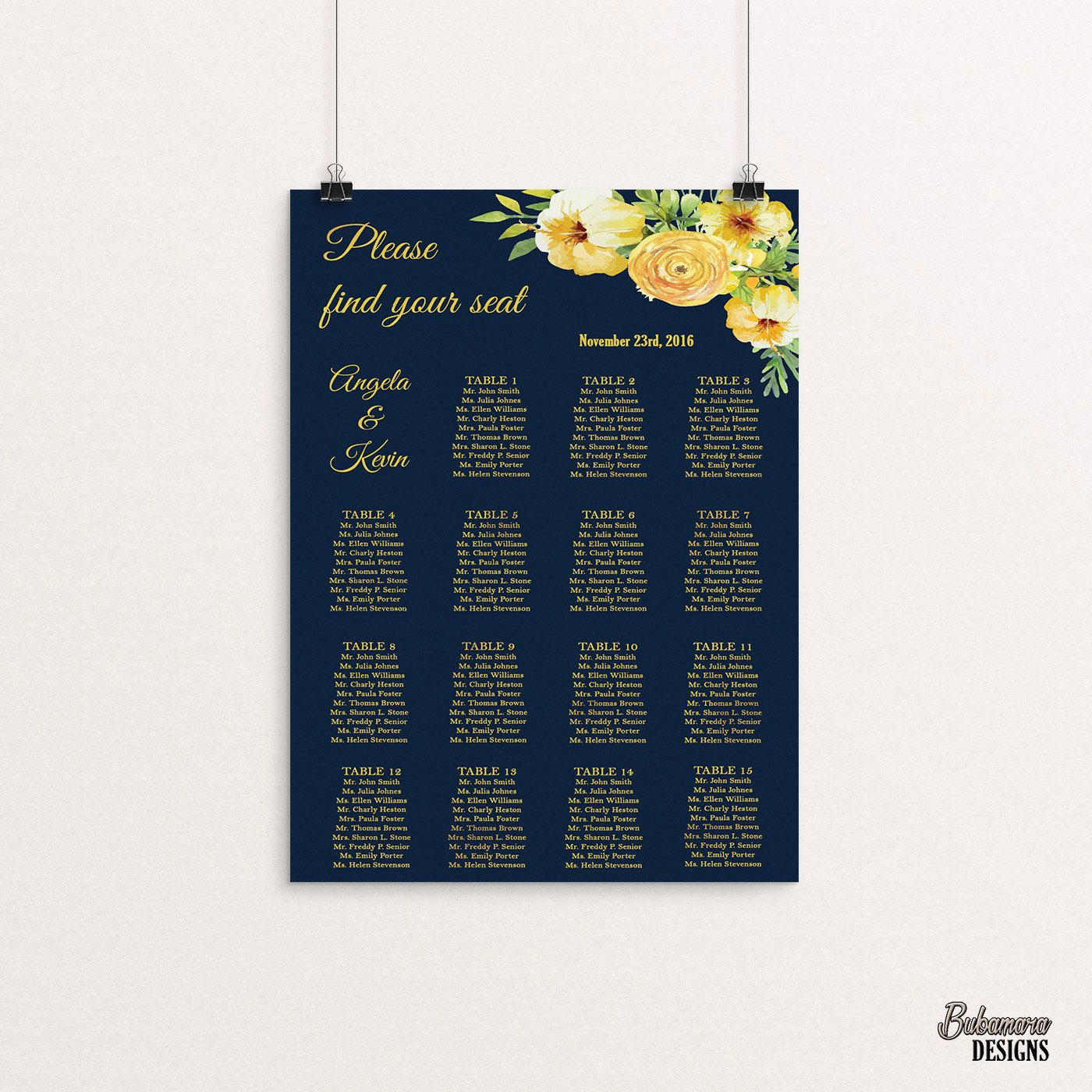 Navy Wedding Seating Chart Boho Digital Gold Foil Sign Yellow Peony Floral Printable Reception Seat Bohemian