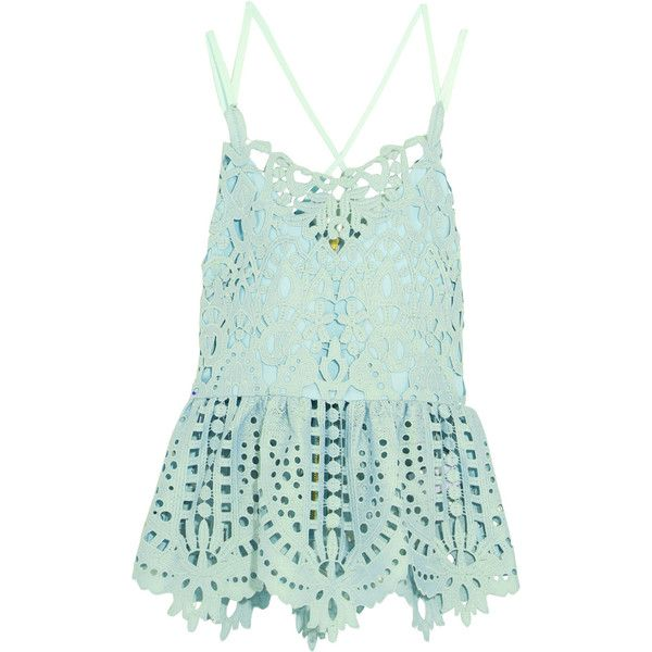 Perseverance Macramé lace peplum top ($120) ❤ liked on Polyvore featuring  tops, mint