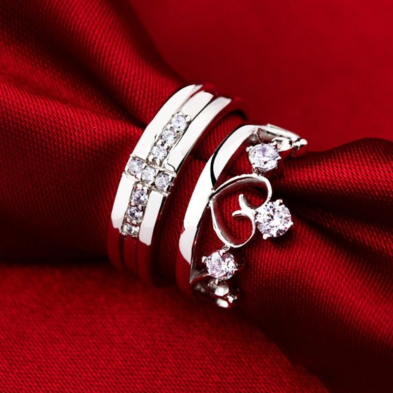 0ed61ce23e New Fashion Personalized Cross With Heart Unique 925 Sterling Silver  Lover's Heart Couple Rings (Price For a Pair)