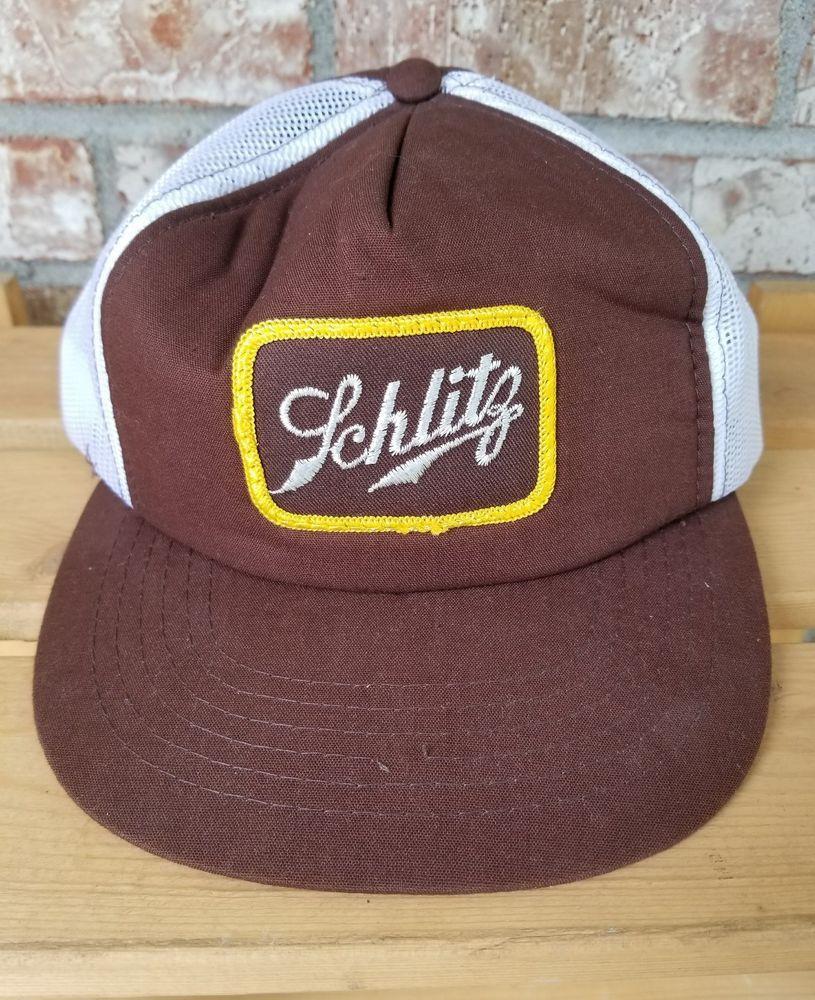 7b430d1f933 Schlitz Beer Trucker Mesh Hat Brown White Snapback Cap Pre-Owned Vintage   Schlitz
