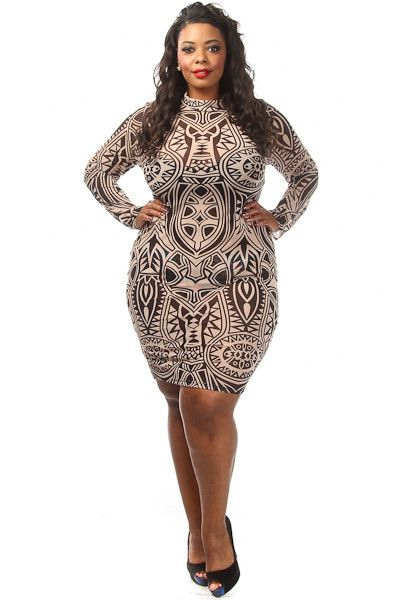 this sexy plus size dress has a tribal ink print, mesh body and a