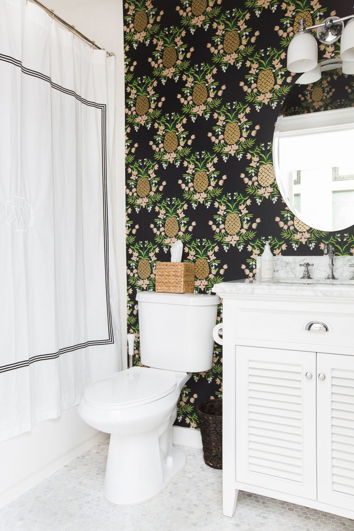 Spark Your Wanderlust With This Designer S Travel Inspired Home Small Bathroom Bathroom Design Small Pineapple Wallpaper